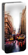 Wet Streets Of New York City Portable Battery Charger