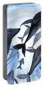 Whale Family On Sun Ray Portable Battery Charger