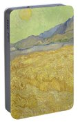 Wheat Field With Reaper At Wheat Fields Van Gogh Series, By Vincent Van Gogh Portable Battery Charger