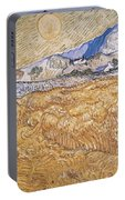 Wheat Field With Reaper Harvest In Provence Portable Battery Charger