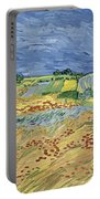 Wheat Field With Stormy Sky Portable Battery Charger