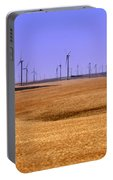 Wheat Fields And Wind Turbines Portable Battery Charger