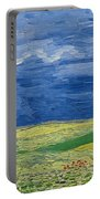 Wheatfields Under Thunderclouds Portable Battery Charger