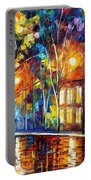 When The City Sleeps 2 - Palette Knife Oil Painting On Canvas By Leonid Afremov Portable Battery Charger