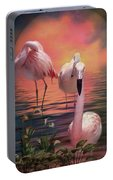 Where The Wild Flamingo Grow Portable Battery Charger