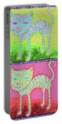 Whimsical Colorful Tabby Cat Pop Art Portable Battery Charger