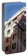 Whimsical Madrid - A Building Draped In Traditional Spanish Mantilla Portable Battery Charger
