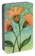 Whimsical Orange Flowers - Portable Battery Charger