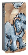 Whimsical Pop Art Childrens Nursery Original Elephant Painting Adorable By Madart Portable Battery Charger