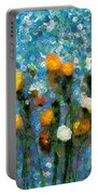 Whimsical Poppies On The Blue Wall Portable Battery Charger