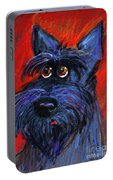whimsical Schnauzer dog painting Portable Battery Charger
