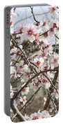 White Almond Flowers Portable Battery Charger