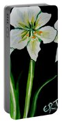 White Amaryllis Portable Battery Charger