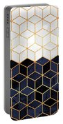 White And Navy Cubes Portable Battery Charger