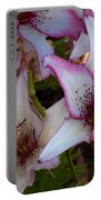 White And Pink Lilies Portable Battery Charger