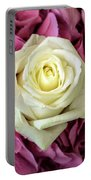 White And Pink Roses Portable Battery Charger
