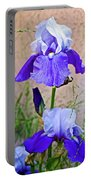 White And Purple Irises At Pilgrim Place In Claremont-california- Portable Battery Charger