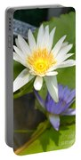 White And Purple Lotus Flowers At Golden Mount Portable Battery Charger
