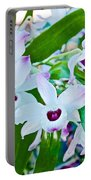 White And Purple Orchids In Greenhouse At Pilgrim Place In Claremont-california Portable Battery Charger