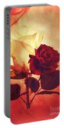 White And Red Roses Portable Battery Charger