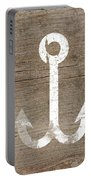 White And Wood Anchor- Art By Linda Woods Portable Battery Charger