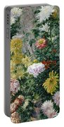 White And Yellow Chrysanthemums Portable Battery Charger by Gustave Caillebotte