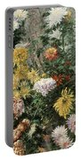 White And Yellow Chrysanthemums In The Garden At Petit Gennevilliers Portable Battery Charger