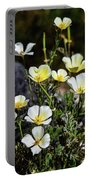 White And Yellow Poppies 1 Portable Battery Charger