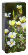 White And Yellow Poppies Abstract 2   Portable Battery Charger