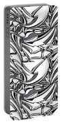 White Arrows Seamless Pattern Portable Battery Charger