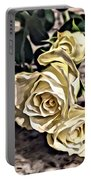 White Baby Roses Portable Battery Charger