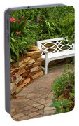 White Bench In The Garden Portable Battery Charger