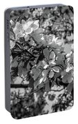White Blossoms In Black And White Portable Battery Charger