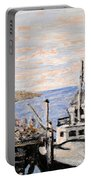 White Boat In Peggys Cove Nova Scotia Portable Battery Charger