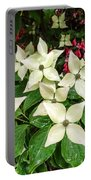 White Bunchberries In The Rain Portable Battery Charger