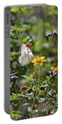 White Butterfly On Golden Daisy Portable Battery Charger