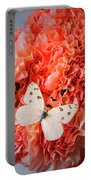 White Butterfly On Pink Carnations Portable Battery Charger