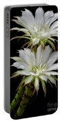 White Cactus Flowers Portable Battery Charger