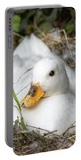White Call Duck Sitting On Eggs In Her Nest Portable Battery Charger