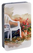 White Chair With Flower Pots Portable Battery Charger