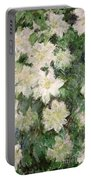White Clematis Portable Battery Charger by Claude Monet