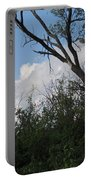 White Clouds With Trees Portable Battery Charger