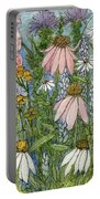 White Coneflowers In Garden Portable Battery Charger
