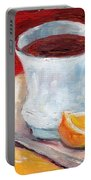 White Cup With Lemon Wedge And Spoon Grace Venditti Montreal Art Portable Battery Charger