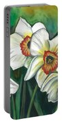 White Daffodils Portable Battery Charger