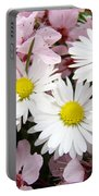 White Daisies Flowers Art Prints Spring Pink Blossoms Baslee Portable Battery Charger
