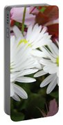 White Daisy Floral Art Print Canvas Pink Blossom Baslee Troutman Portable Battery Charger