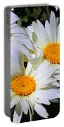 White Daisy Flowers Portable Battery Charger