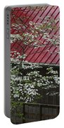 White Dogwood In The Rain Portable Battery Charger
