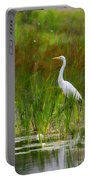 White Egret In Waiting Portable Battery Charger